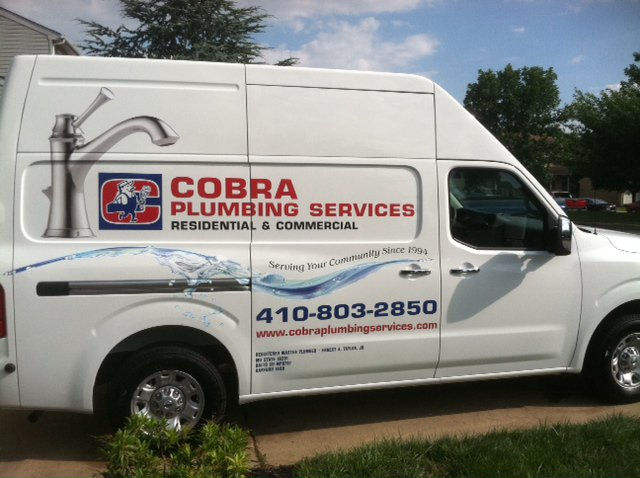 Cobra Plumbing Logo - Contact us in Abingdon, Maryland, for plumbing repairs, drain cleaning, and even water heater repairs.